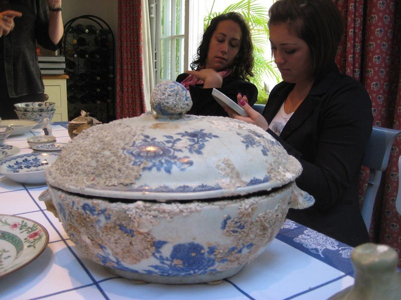 Looking at a porcelain dish